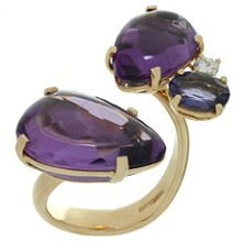 ANTONINI Amethyst Diamond Blue Iolite 18k Yellow Gold Ring