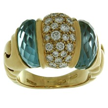 BULGARI Ganci Diamond Aquamarine 18k Yellow Gold Ring