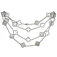 VAN CLEEF & ARPELS Vintage Alhambra 20-Motif Mother-Of-Pearl 18k White Gold Necklace Papers