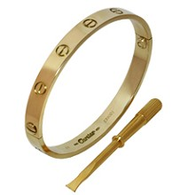 CARTIER Love 18k Yellow Gold Bracelet Size 16 Papers