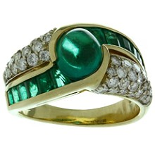 Colombian Emerald Diamond 18k Yellow Gold Ring GIA