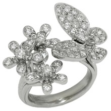 Diamond 18k White Gold Butterfly Flower Ring