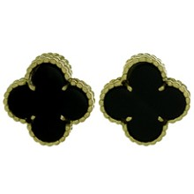 VAN CLEEF & ARPELS Vintage Alhambra Black Onyx Yellow Gold Earrings