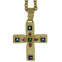 CARTIER Byzantine Multicolor Gemstone 18k Yellow Gold Cross Pendant Necklace