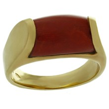 BULGARI Natural Oxblood Coral 18k Yellow Gold Ring