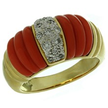 JACQUES TIMEY Vintage Red Fluted Coral Diamond 18k Gold Ring