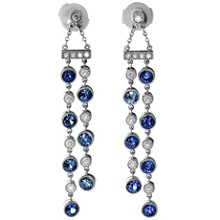 TIFFANY & CO. Jazz Diamond Sapphire Platinum Double Drop Earrings