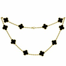 VAN CLEEF & ARPELS Vintage Alhambra Onyx 18k Yellow Gold 10 Motif Necklace