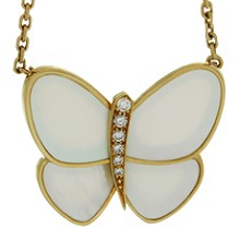 VAN CLEEF & ARPELS Flying Beauties Diamond Mother-of-Pearl 18k Yellow Gold Butterfly Pendant