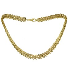 Retro Braided 14k Yellow Gold Wide Necklace