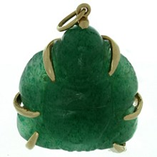 Green Jade Yellow Gold Buddha Pendant