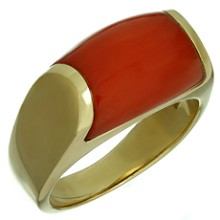 BULGARI Natural Oxblood Coral 18k Yellow Gold Ring Size 5.75
