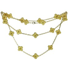 VAN CLEEF & ARPELS Vintage Alhambra 18k Yellow Gold 20 Motif Long Necklace