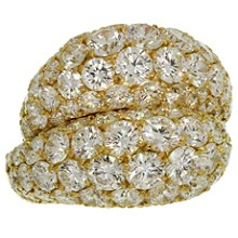 VAN CLEEF & ARPELS Double Boule Diamond 18k Yellow Gold Ring