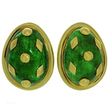 TIFFANY & CO. Schlumberger Dot Losange Green Enamel 18k Gold Clip-on Earrings