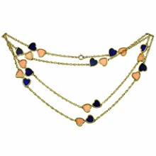 VAN CLEEF & ARPELS Pink Coral Lapis Lazuli 18k Yellow Double Hearts Necklace 1960s