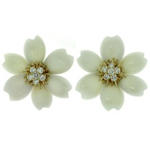 VAN CLEEF & ARPELS Rose De Noel Diamond Natural White Coral 18k YG Large Earrings.