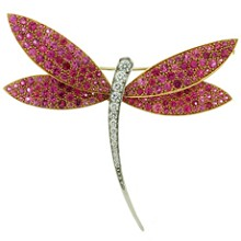 VAN CLEEF & ARPELS Diamond Pink Sapphire 18k Gold Dragonfly Large Brooch