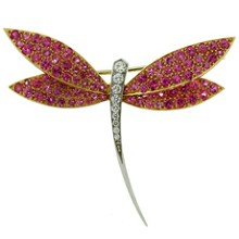 VAN CLEEF & ARPELS Diamond Pink Sapphire 18k Gold Dragonfly Small Brooch