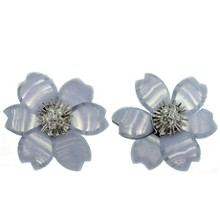 VAN CLEEF & ARPELS Rose de Noël Chalcedony Diamond White Gold Large Model Earrings