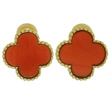 VAN CLEEF & ARPELS Vintage Alhambra Natural Coral 18k Yellow Gold Clip-on Earrings