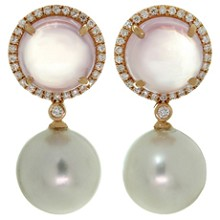 Diamond Pink Quartz Pearl 18k Rose Gold Drop Earrings
