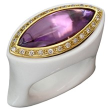 Amethyst Diamond White Agate 18k Yellow Gold Ring