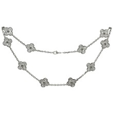 VAN CLEEF & ARPELS Vintage Alhambra Diamond 18k White Gold 10 Motif Necklace