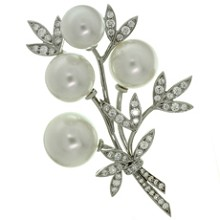 TIFFANY & CO. Diamond South Sea Pearl Platinum Floral Brooch