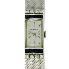 TIFFANY & CO. Vintage Diamond Blue Sapphire White Gold Watch 1960s