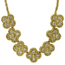 VAN CLEEF & ARPELS Arno Alhambra Diamond 18k Yellow Gold Necklace