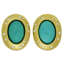 TIFFANY & CO. ANGELA CUMMINGS Diamond Turquoise 18k Yellow Gold Clip-on Earrings