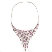 EXQUISIT! Pink Sapphire White Diamonds 18k Gold Bib Necklace. Made in Italy