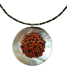 LOFFREDO Mother-of-Pearl Coral Onyx Bead 18k Yellow Gold Pendant Necklace