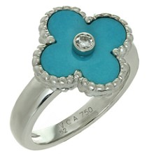 VAN CLEEF & ARPELS Alhambra Turquoise Diamond White Gold Ring Size 52