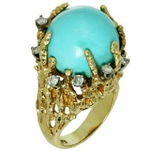 Turquoise Diamond Nugget Yellow Gold Ring 1960s