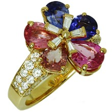 BULGARI  Fancy Sapphire Diamond 18k Yellow Gold Flower Ring Box Papers
