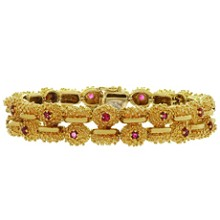 TIFFANY & CO. Ruby 18k Yellow Gold Double Row Nugget Link Bracelet