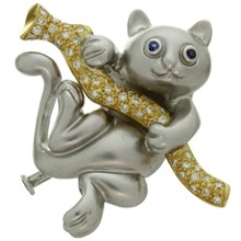 Diamond Blue Sapphire 18k White Yellow Gold Cat on Branch Brooch Pendant