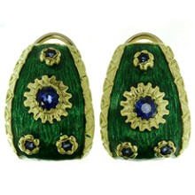 Blue Sapphire Green Enamel 18k Yellow Gold Earrings