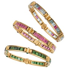 BULGARI Multicolor Gemstone 18k Yellow Gold Set of 3 Bracelets