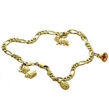 14k Yellow Gold Charm Ankle Bracelet