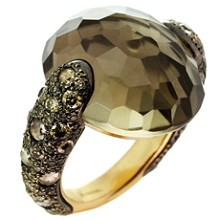 POMELLATO Sabbia Smoky Topaz Champagne Diamond 18k Yellow Gold Ring