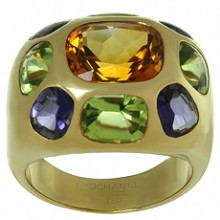 CHANEL Coco Multicolor Gemstone 18k Yellow Gold Dome Band Ring