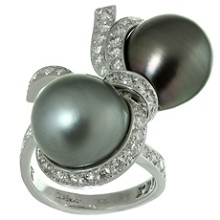 CHRISTIAN DIOR Caprice Tahitian Pearl Diamond 18k White Gold Ring $31,400