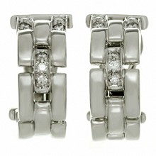CARTIER Maillon Panthere Diamond 18k White Gold Earrings