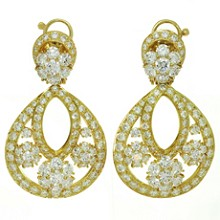 VAN CLEEF & ARPELS Snowflake Diamond 18k Yellow Gold Clip-on Drop Earrings