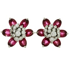 VAN CLEEF & ARPELS Hawaii Diamond Rubellite 18k White Gold Flower Earrings