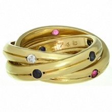 CARTIER Constellation Trinity Diamond Ruby Sapphire 18k Yellow Gold Ring