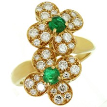 VAN CLEEF & ARPELS Trefle Diamond Emerald 18K Yellow Gold Double Flower Ring
